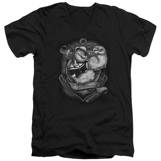Popeye/Anchors Away Short Sleeve Adult T-Shirt V-Neck 30/1 in