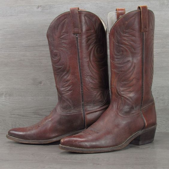 Details about Vintage Acme Rustic Brown All Leather cowboy boots