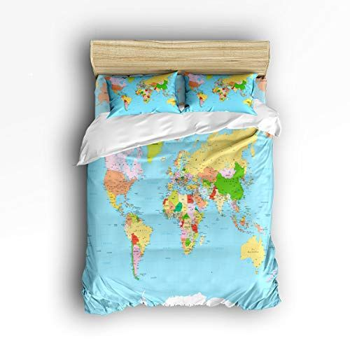 Meet 1998 Luxury 4 Piece Bedding Set World Map Print Educational Geographical Earth Duvet Covers Set Duv Duvet Cover Sets Christmas Duvet Cover Comforter Cover