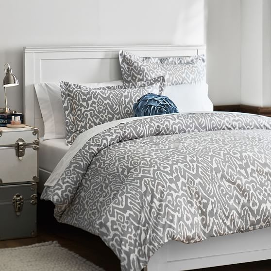Urban Ikat Duvet Cover + Sham, Light Grey | PBteen