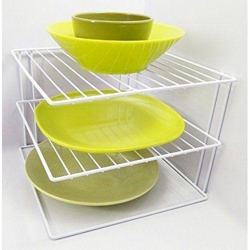 3 Tier White Corner Shelf Kitchen Plates Rack Organiser Cupboard Storage Worktop Kitchen Cupboards Plate Racks In Kitchen Corner Shelves Kitchen