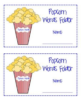 Popcorn Words: Take Home Folders and Additional Materials