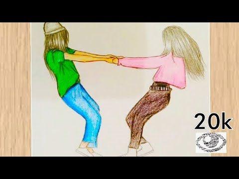 رسم بنات تعليم رسم صديقات Bff بطريقة سهلة للمبتدئين خطوة بخطوة رسومات بنات كيوت Youtube In 2021 Bff Drawings Easy Drawings Drawings Of Friends