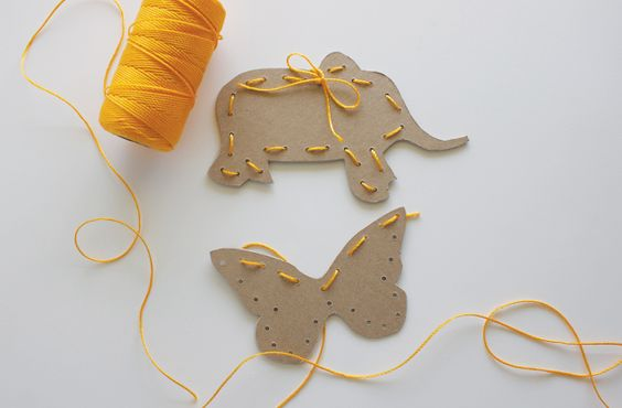 Sewing cards in fun shapes