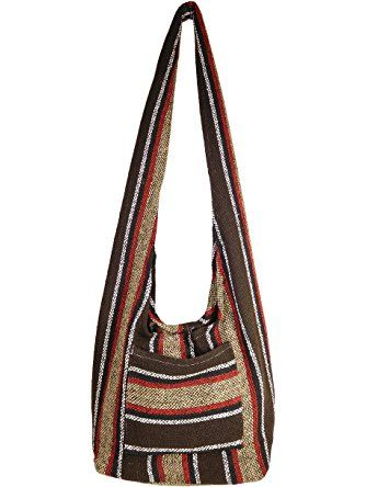 Hippie Bag Cross-Body Baja Sling Bag in Classic Baja Jacket Fabric. For Men or Women. Large and Comfortable. (Cabo Wabo Brown 3) ❤ ...