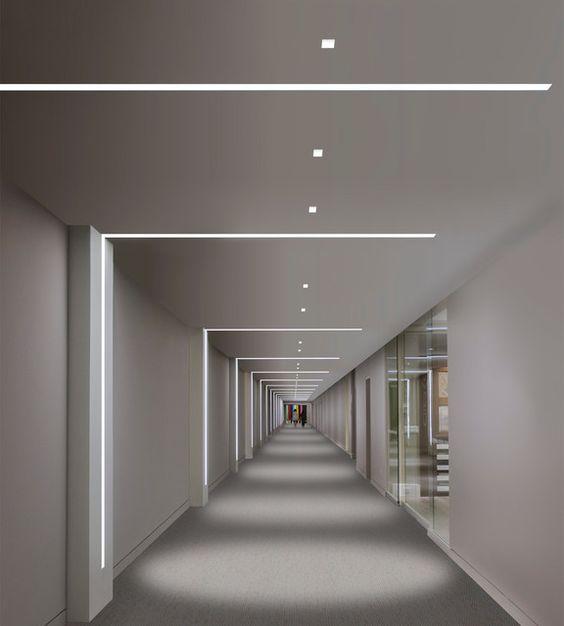 Linear light fixtures, hallway, wall mounted, modern interior design Luminaries Pinterest ...
