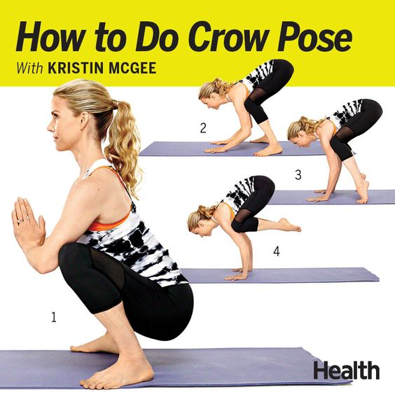 We love Crow pose, and not just because it sculpts your arms, legs and entire midsection. It's so much fun to take flight. (Avoid it if you have upper-body injuries,  Place a pillow in front of your mat if you need an extra security crash pad. Then keep practicing, and soon you'll find yourself soaring—and feeling amazing when you land. |