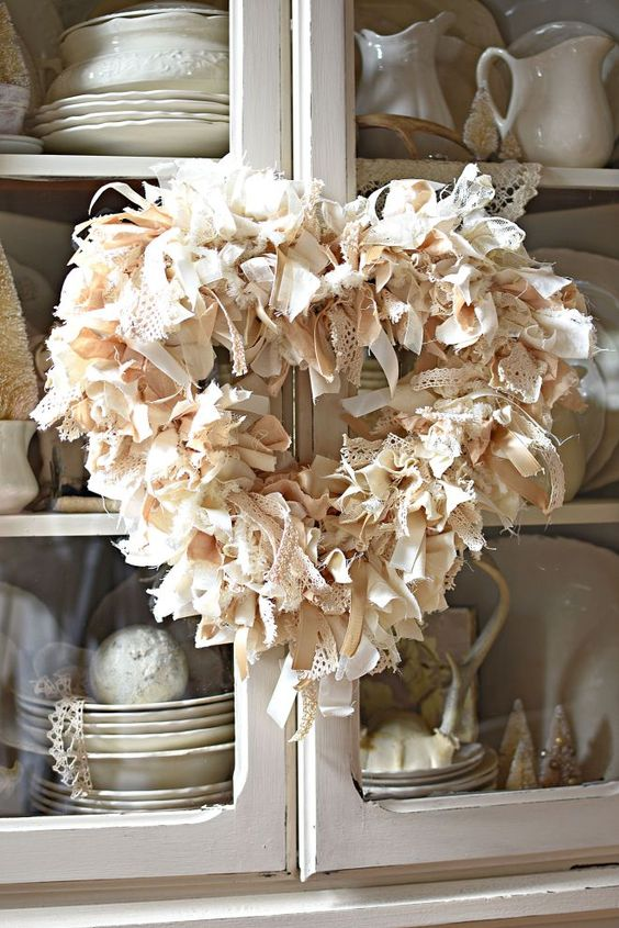 DIY Neutral Farmhouse Heart Rag wreath