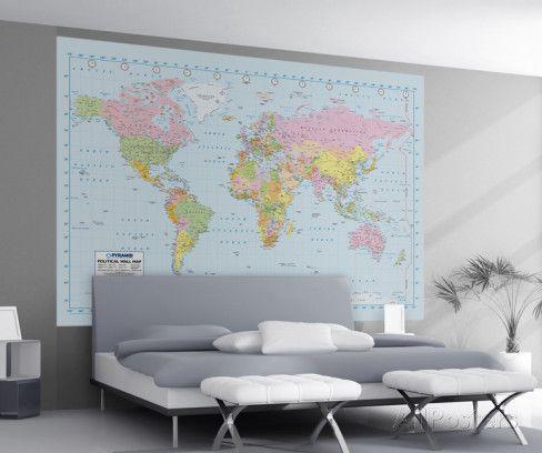 Political World Map Wall Mural : pour décorer la cage d'escalier