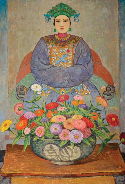 "EUROPEAN SCHOOL (Late 19th century) ""Asian Ancestral Portrait with Zinnias"" Oil on canvas #fineart #michaans http://www.michaans.com/highlights/2015/highlights_09122015.php"