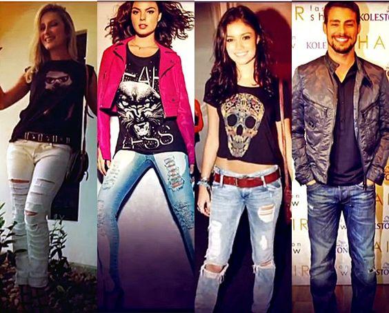 Claudia Leitte, Ísis Valverde, Sophie Charlotte e Cauã Raymond são fãs do 'destoyed jeans' (Foto: Mais Você/TV Globo)