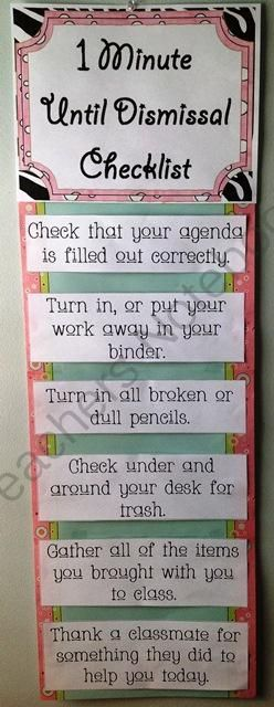 End of the Day Dismissal Checklist from First Grade Fun on TeachersNotebook.com -  (7 pages)