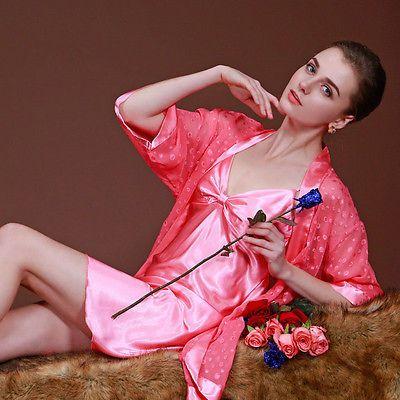 2PCS Sexy Women Lady  Long Sleeve Pajamas Set Sling Sleepwear Night Dress New