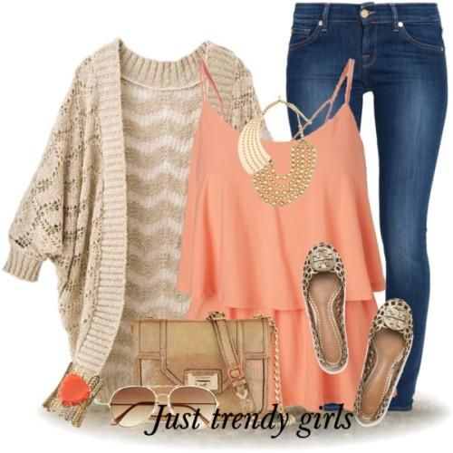 cute girly outfit- crochet cardigan- peach ruffle top- jeans- Cute casual outfits ideas http://www.justtrendygirls.com/cute-casual-outfits-ideas/