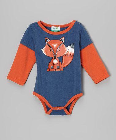 Another great find on #zulily! Dark Blue Fox Organic Bodysuit - Infant #zulilyfinds