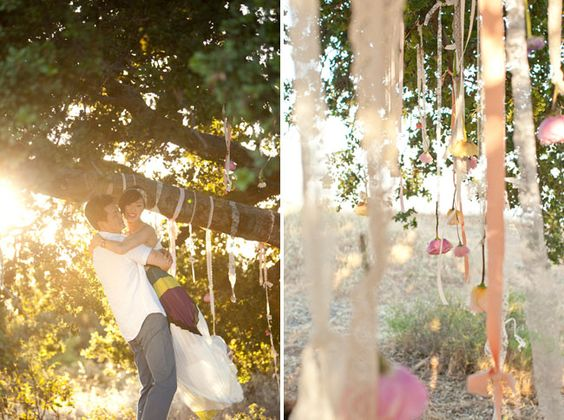 I kinda like the ribbons & roses  Down the Aisle With Chriselle: Engagement Photos