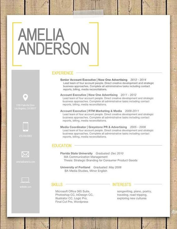 yellow bracket resume cover cv and job related stuff pinterest template modern and gray - Microsoft Cover Letter Templates For Resume