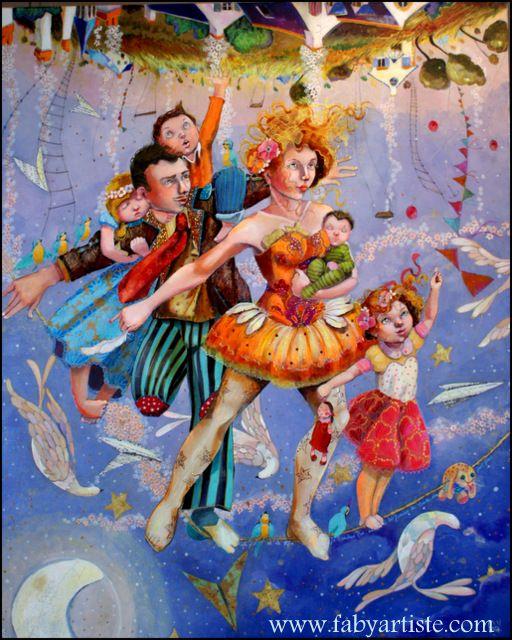"""Faby artiste peintre - """"Ma vie comme sur un fil ... dans un monde qui marche sur la tête !"""""""