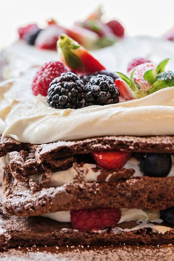 Celebration Cake by Ottolenghi via nytimes: Superrustic and elegant with terrific flavors. #Cake #Mousse_Cake #Chocolate #Berries: