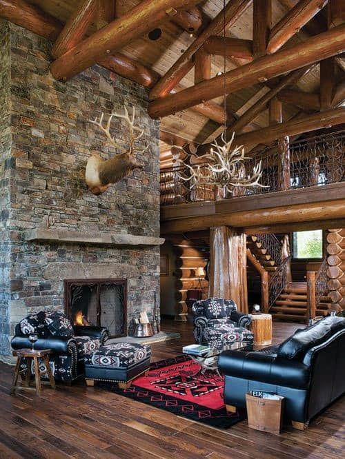 Top 70 Best Stone Fireplace Design Ideas Rustic Rock Interiors In 2020 Stone Fireplace Designs Log Cabin Rustic Log Cabin Homes