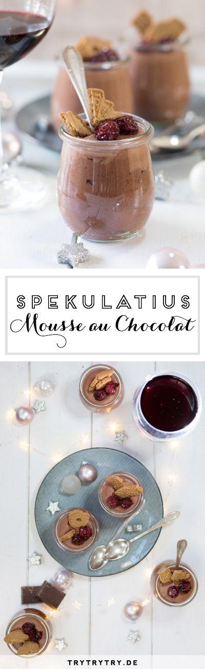 Spekulatius - Mousse au Chocolat mit kandierten Kirschen