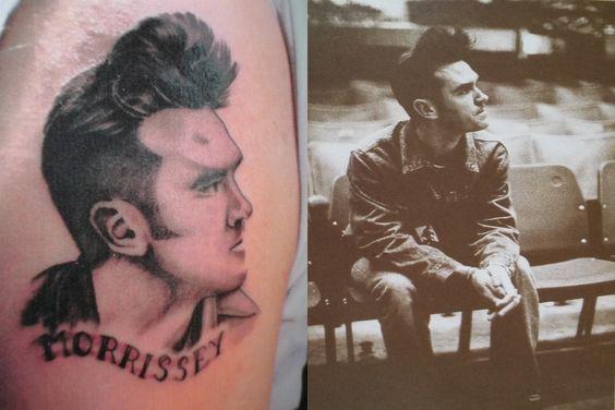 """Peter: """"Morrissey tattoo, tja een fan voor het leven... Lang geleden mezelf cadeau gedaan voor mijn verjaardag (2009/2010??). Tot hiertoe heb ik er nog geen spijt van. Laten tatoeëren in Antwerpen bij Wild Cat. De tweede foto is de originele foto afkomstig uit het Morrissey """"Kill Uncle"""" tour-boek."""