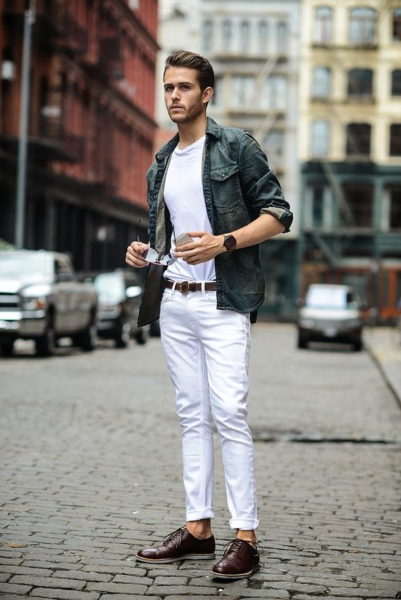 Man white trousers chinos | How to style white colour clothing ...