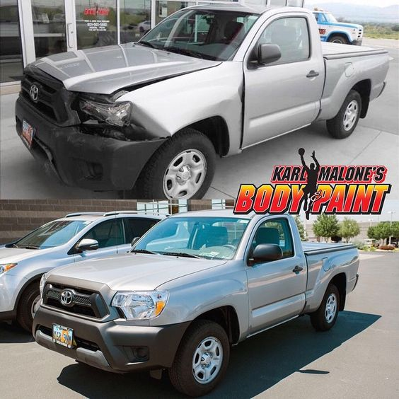 Sometimes accidents happen, let #malonebodyshop make it right for you.  Before and after.  #autobodyrepair #utah #karlmalone #beforeandafter