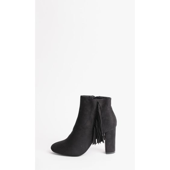 LILY LULU FASHION Rani Black Tassel Faux Suede Ankle Boots (£36) ❤ liked on Polyvore featuring shoes, boots, ankle booties, black, black bootie boots, ankle boots, black high heel booties, black high heel ankle booties and high heel ankle boots