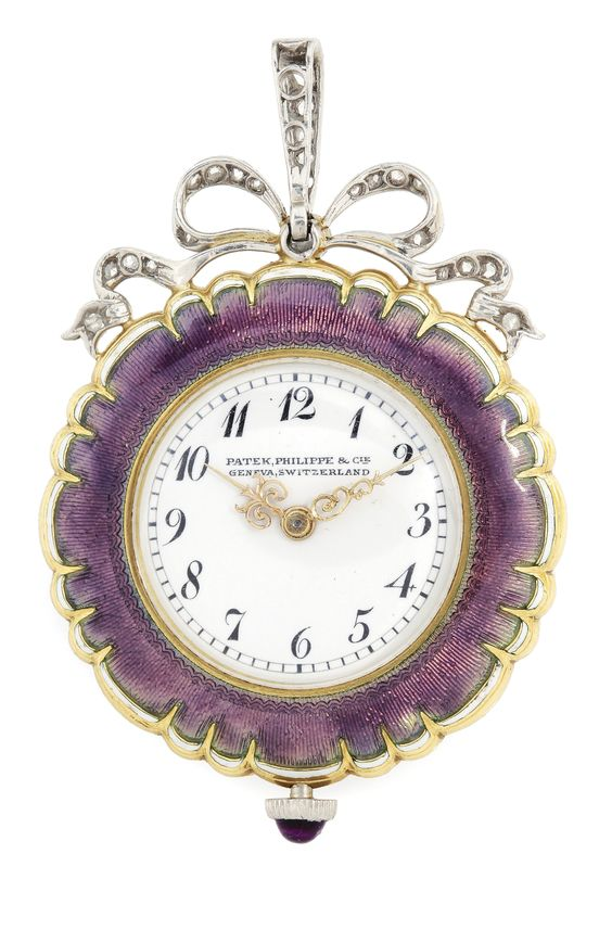 PATEK PHILIPPE AN 18K YELLOW GOLD, ENAMEL AND DIAMOND-SET OPEN FACED LADY'S PENDANT WATCH 1909  | Sotheby's