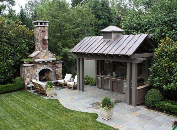 Outdoor Kitchen. Covered Outdoor Kitchen. #OutdoorKitchen JDP Design.