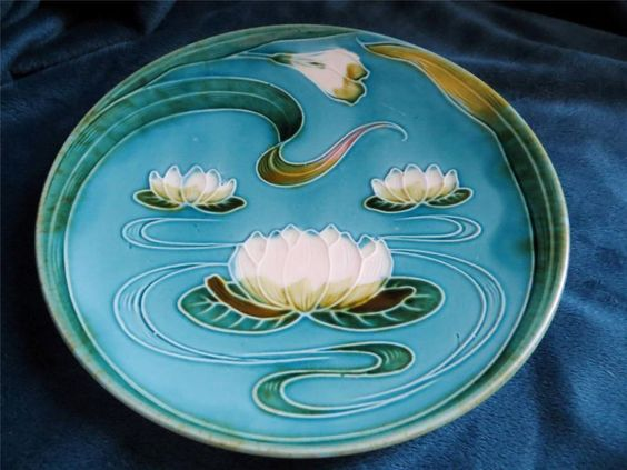 Vintage Art Nouveau Blue Majolica Water Lily Pottery Plate Zell Germany 7.5