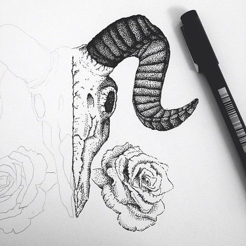 ram skull tattoo stippling - Google Search
