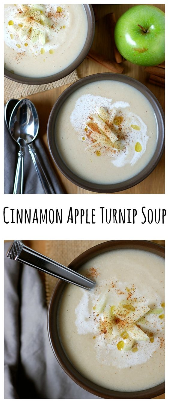 This gluten-free cinnamon apple turnip soup is the perfect, soul-warming winter meal.