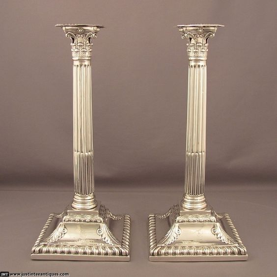 Pair of George II Silver Candlesticks at J.H.Tee Antique Silver