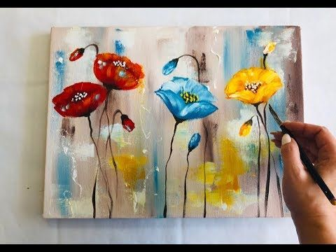 How To Draw Easy Flowers Painting Demonstration Acrylic Technique On Canvas By Julia Kotenko Abstract Flower Painting Easy Flower Painting Flower Painting