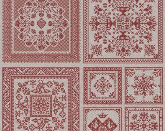 Bordüren 50 Original Kreuzstich Designs von modernfolk auf Etsy