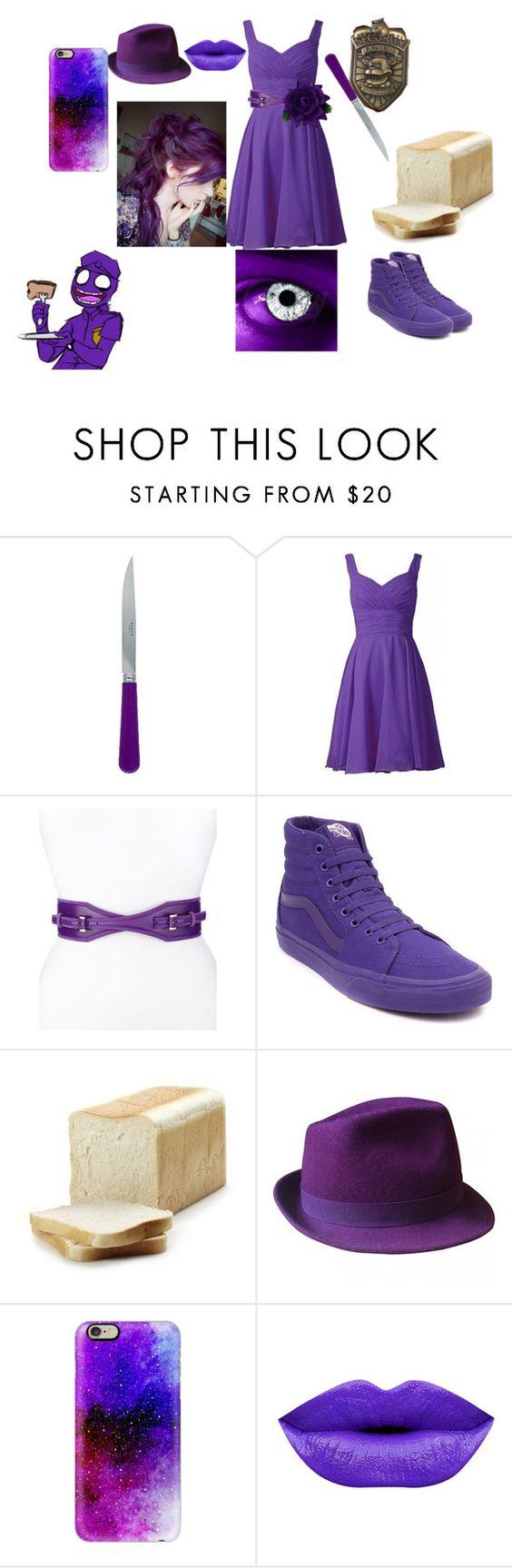 """fnaf purple girl"" by minecrafterfoxkol ❤ liked on Polyvore featuring Sabre, Freddy, Oscar de la Renta, Vans, Gérard Darel and Casetify"