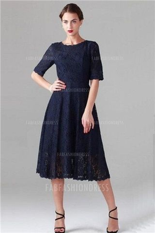 A-Line/Princess Jewel Tea-length Lace Mother of the Bride Dress
