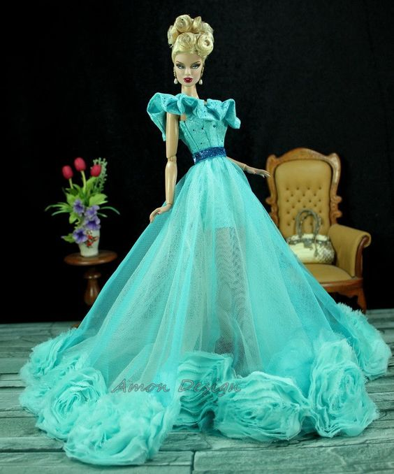 Amon Design Gown Outfit Dress Fashion Royalty Silkstone Barbie Model Doll FR: