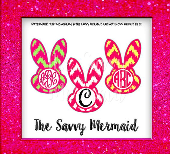 Easter Bunny Monogram SVG - ikat Chevron - Cutting file for Silhouette Cameo or Cricut Explore -  Easter SVG  by TheSavvyMermaid