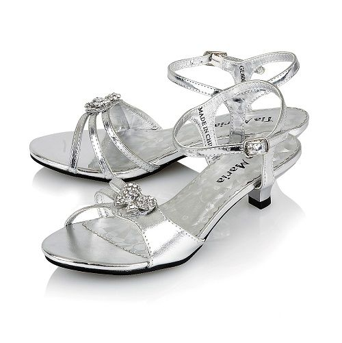 Silver Wedding Shoes Low Heel