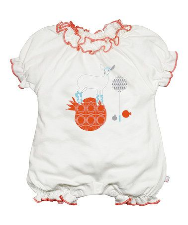 This White & Orange Deer Ruffle Organic Romper - Infant by babysoy is perfect! #zulilyfinds