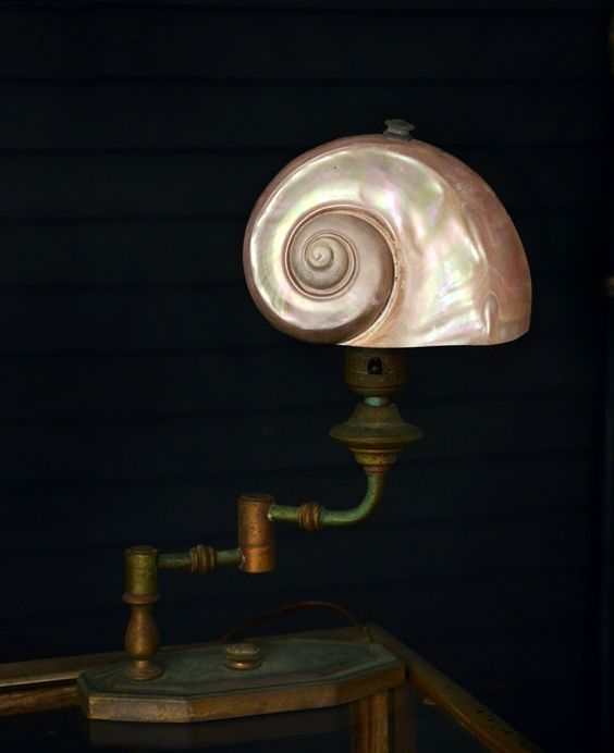 Early 1900s Nautilus Shell Bronze Desk Lamp