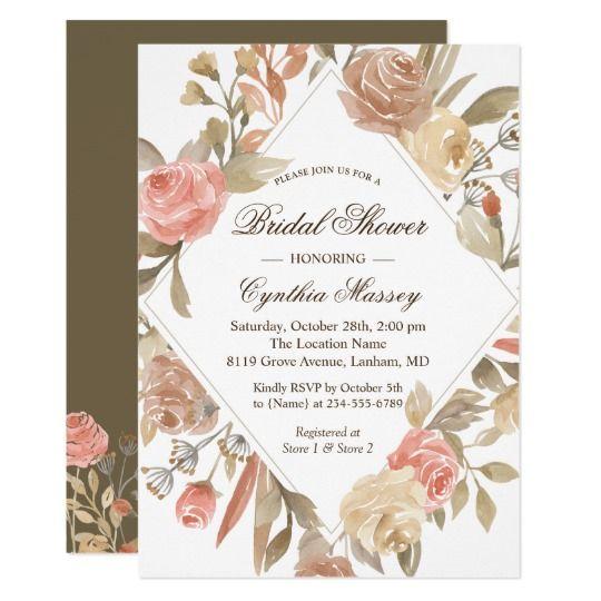 Autumn Geometric Bridal Shower Coral Beige Floral Invitation Geometric Bridal Shower Wedding Cards Floral Invitation