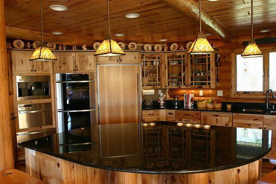 Log cabin kitchens cabin kitchens and log cabins on pinterest for Log cabin kitchen islands