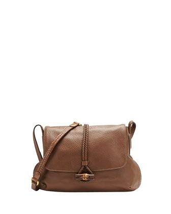 Hip Bamboo Leather Flap Shoulder Bag, Acero Mushroom by Gucci at Neiman Marcus.