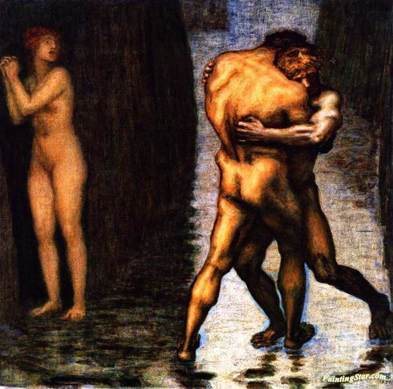 Fight For The Female Artwork by Franz von Stuck Oil Painting & Art Prints on canvas for sale - PaintingSTAR.com Art Online Store: