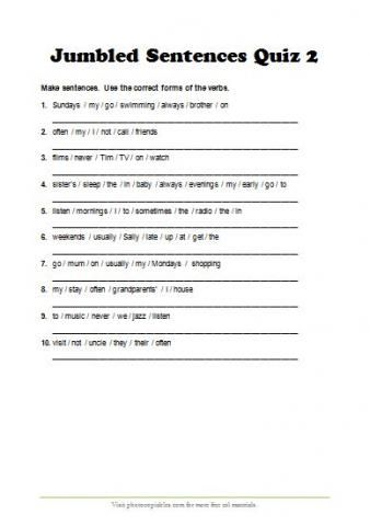 Worksheets Jumbled Words With Answers jumbled sentences quiz present simple tense and adverbs of frequency revision with answer key grammar lessons pinterest s