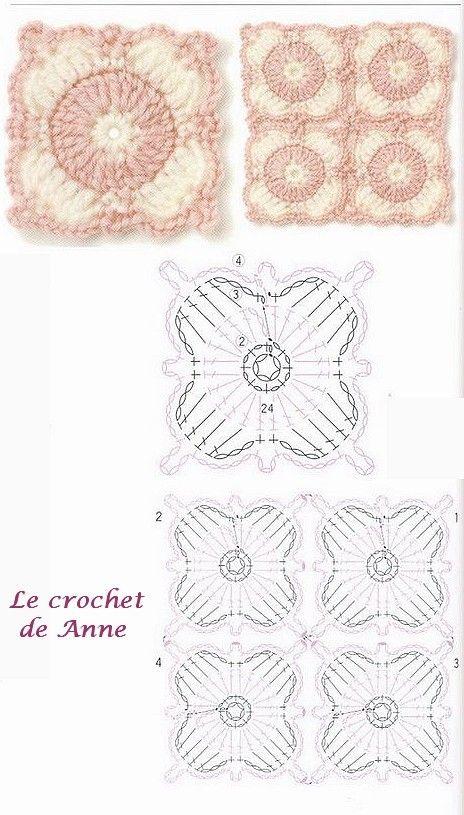 Several crochet diagrams - carre rose et blanc Crochet ...